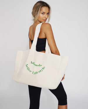Adanola Active Lifestyle Tote Bag - Cream/Green