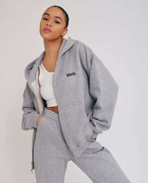 Load image into Gallery viewer, Oversized Full Zip Hoodie - Heather Grey