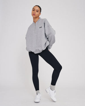 Oversized Half Zip Sweatshirt - Heather Grey