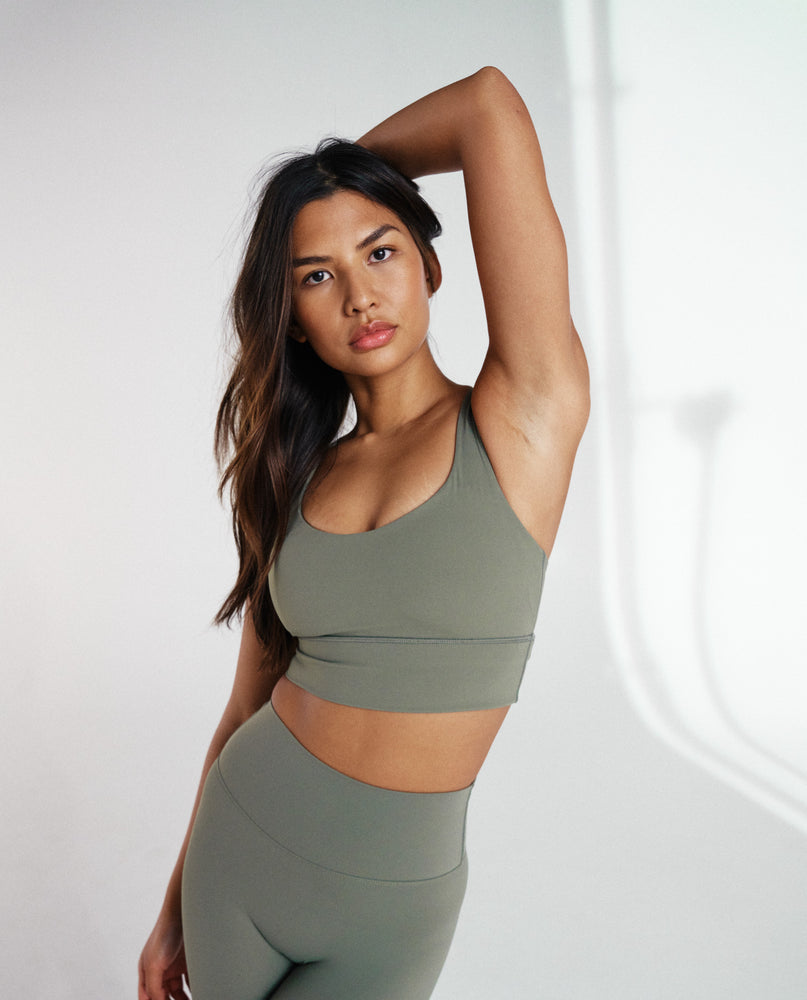 Load image into Gallery viewer, Cross Back Bra - Olive Green