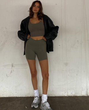 Ultimate Crop Shorts - Olive Green