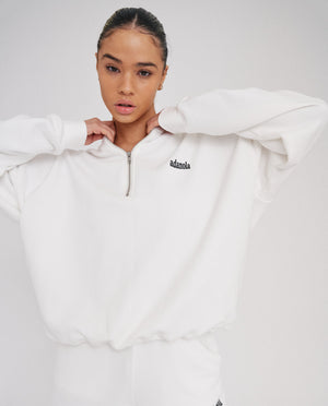 Oversized Half Zip Sweatshirt - White