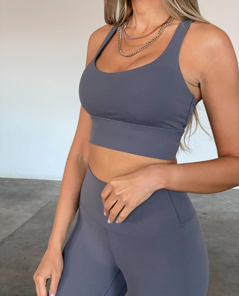 Cross Back Bra - Dark Grey