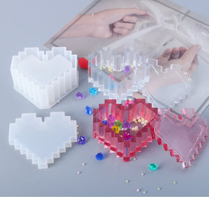 Pixel heart shape mould | Heart container mould | Heart trinket box | 3D mould | Silicon mould