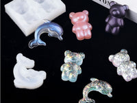 Kawaii bear mould | Dolphin mould | 2D mould | Silicon mould | UV resin mould | fish mould | animal mould