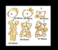 Puppet open bezel | UV resin bezel | Resin open bezel | Open back bezel | Bunny open bezel | Cat puppet | UV resin charm