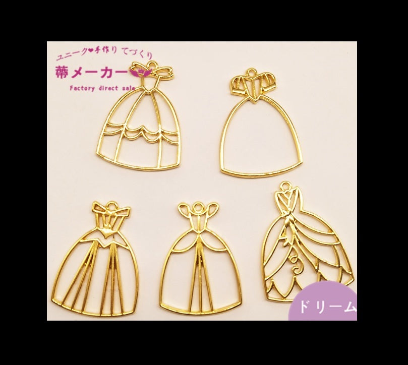 Princess dress open bezel | UV resin open bezel | Gold bezel | Disney princess open bezel | UV resin charm