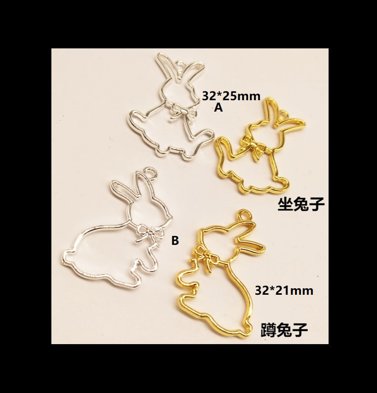Bunny open bezel | Rabbit open bezel | UV resin open bezel | Open back bezel |  Gold charm