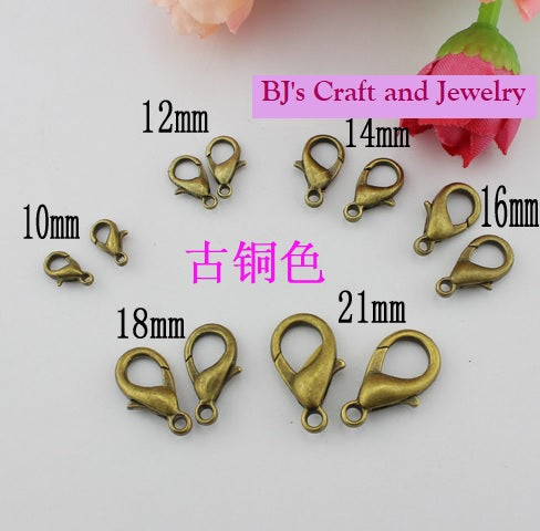 10 pcs Antique brass losbter clasps | Lobster clasps | Necklace connector | Swivel clasps | Jewelry findings
