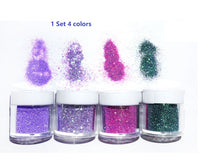 1 Set 4 colors glitter | Glitter | Holographic glitter | Purple glitter | Green glitter