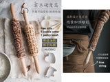 Embossed rolling pin | Wooden carved rolling pin | Reindeer rolling pin | Snow flake | Cookie cutter