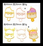Ice cream open bezel | Open back bezel | Kawaii open bezel | Gold charm | UV resin charm