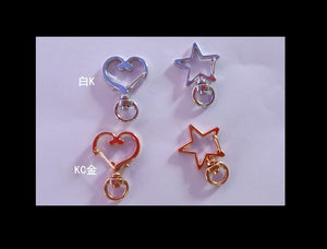 Heart shape key ring | Star key chain | White gold key ring | KC Gold key ring | Clasp key ring | Lobster clasp key chain
