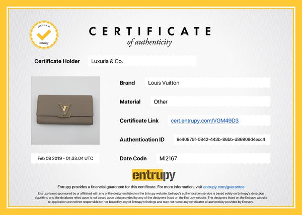 Capucines Wallet Galet Entrupy Certificate of Authenticity