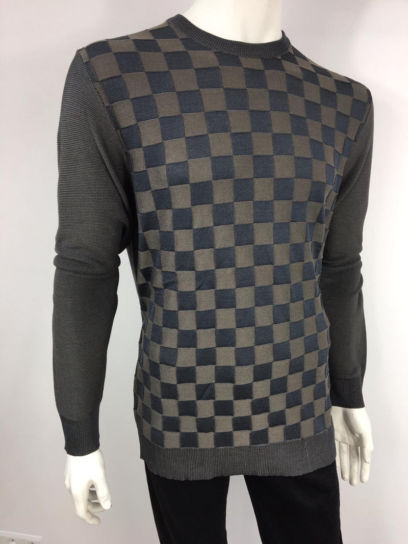 Louis Vuitton 100% Silk Damier Crewneck - Luxuria & Co.