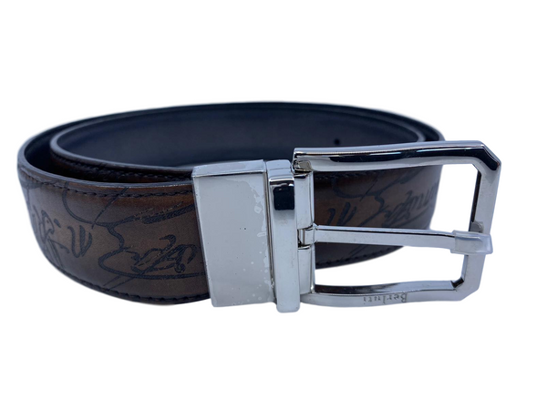 Berluti Versatile Reversible Scritto Leather Belt - Luxuria & Co.