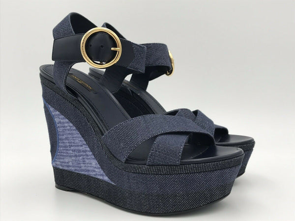 Louis Vuitton Denim Shore Wedge Sandal - Luxuria & Co.