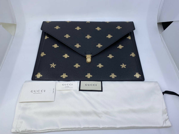Gucci Gucci Grained Calfskin Bee Star Portfolio - Luxuria & Co.