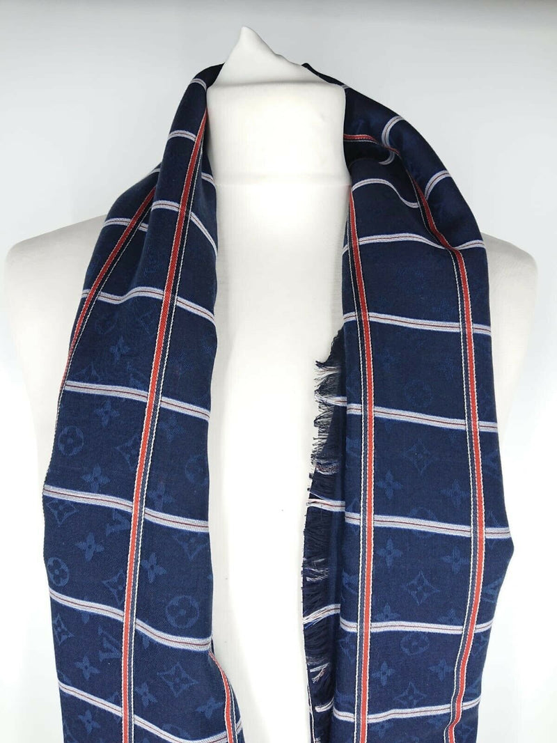 Louis Vuitton Carre Check Marine Monogram Scarf - Luxuria & Co.
