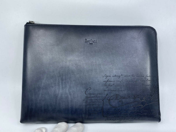 Berluti Venezia Scritto Nino Large Leather Clutch - Luxuria & Co.