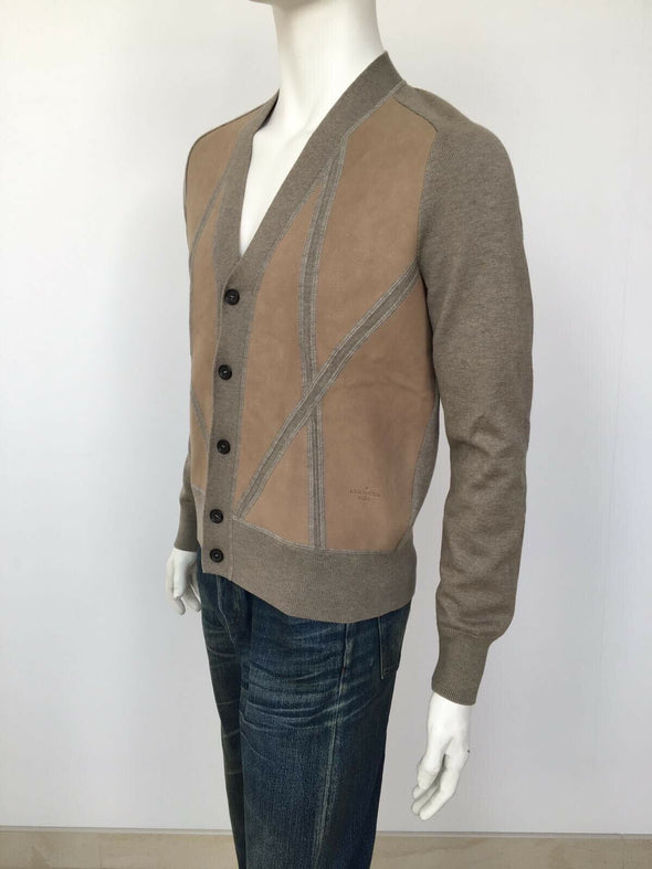Leather Front Cardigan