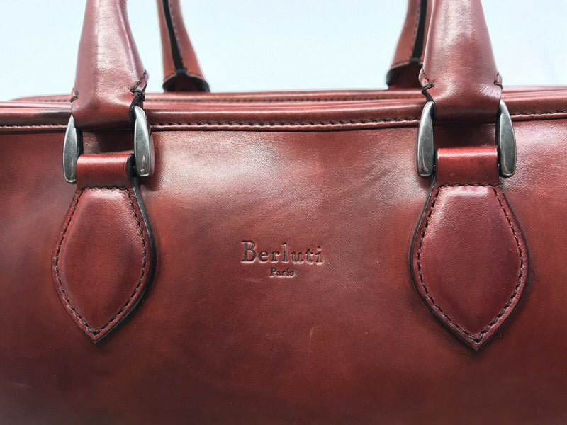 Berluti Deux Jours Large Leather Briefcase Vermillion - Luxuria & Co.