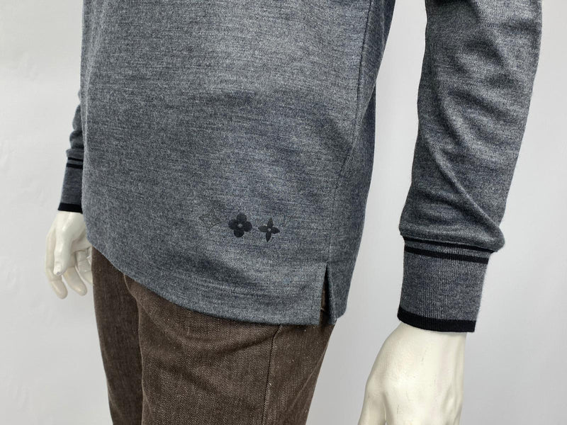 Monogram Detail Long Sleeve Polo