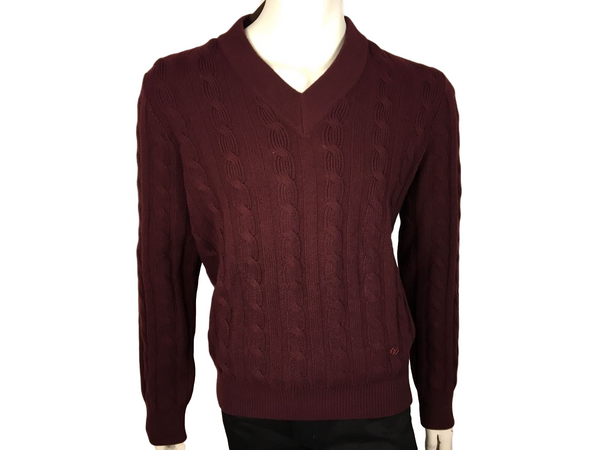 Cabled V Neck Sweater - Luxuria & Co.