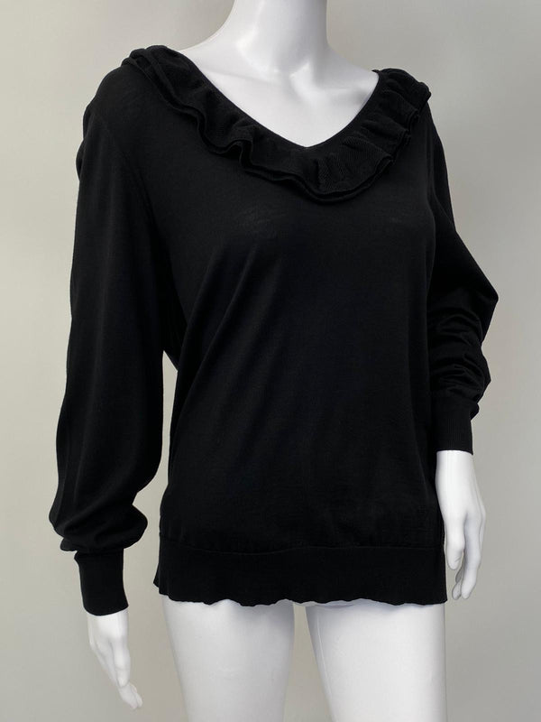 Frill V-Neck Monogram Sweater