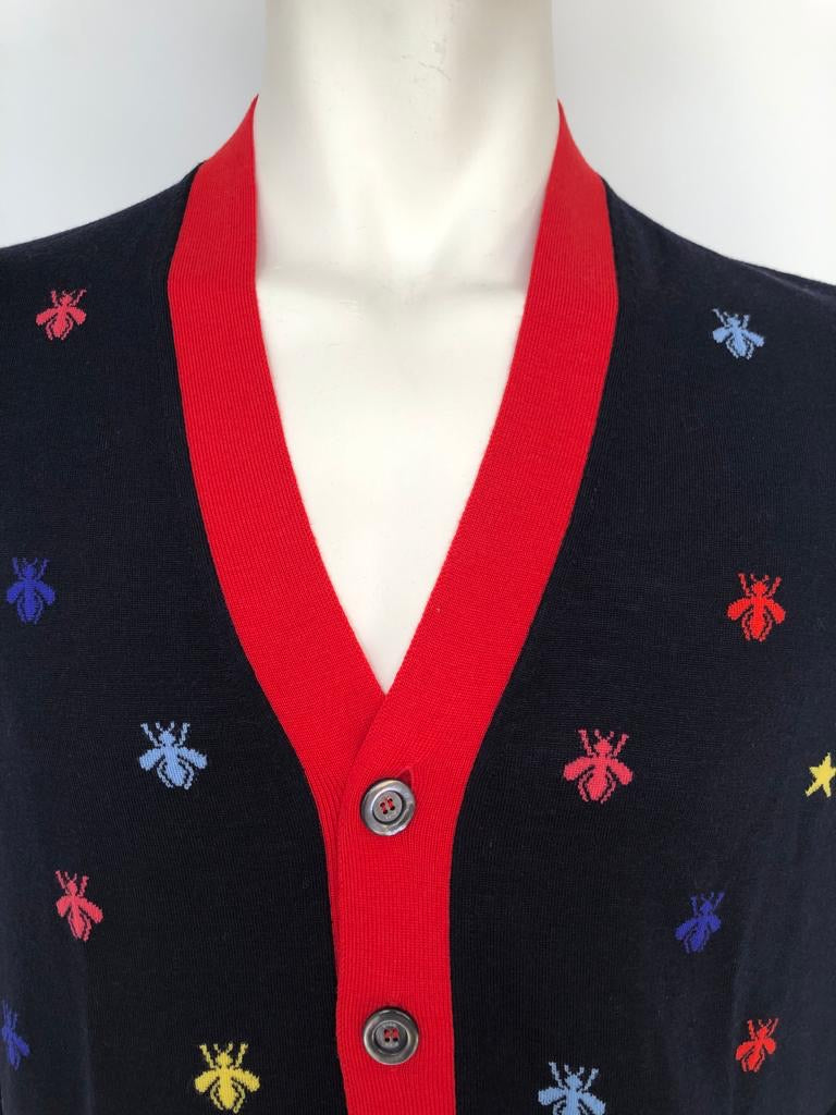 Gucci Multicolor Bee & Star Wool Cardigan - Luxuria & Co.