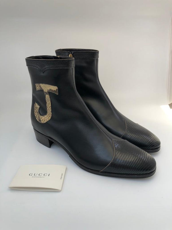 Gucci Black Leather & Lizard Elton John Zip-Up Boots - Luxuria & Co.
