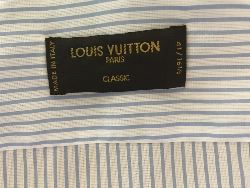 Louis Vuitton Light Blue Striped Shirt - Luxuria & Co.