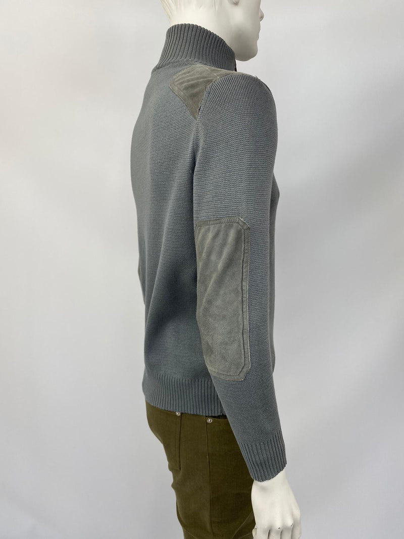 Zip-Up Cardigan With Suede Patches