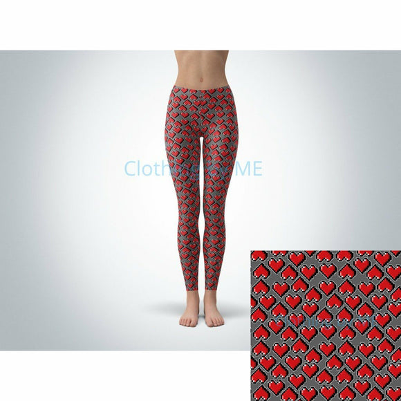 8-bit Hearts Leggings - Adult Leggings