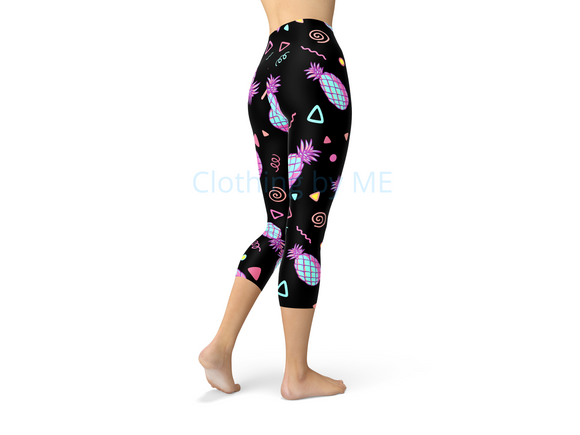 90S Pineapple - Capri Leggings - Capris