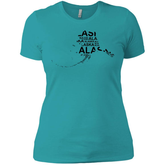 Alaska Premium Short Sleeve Tees - Adult - Ladies Boyfriend T-Shirt / Tahiti Blue / XS - States T-Shirt