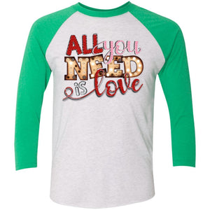 All You Need is Love 3/4 Sleeve Baseball Raglan T-Shirt - Adult - Heather White/Vintage Red / XS - Long-sleeve