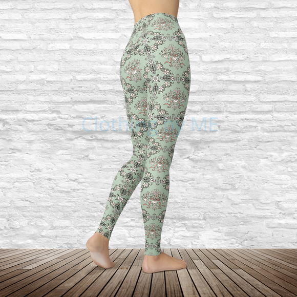 Antique Sage Floral - Capri Leggings - Capris