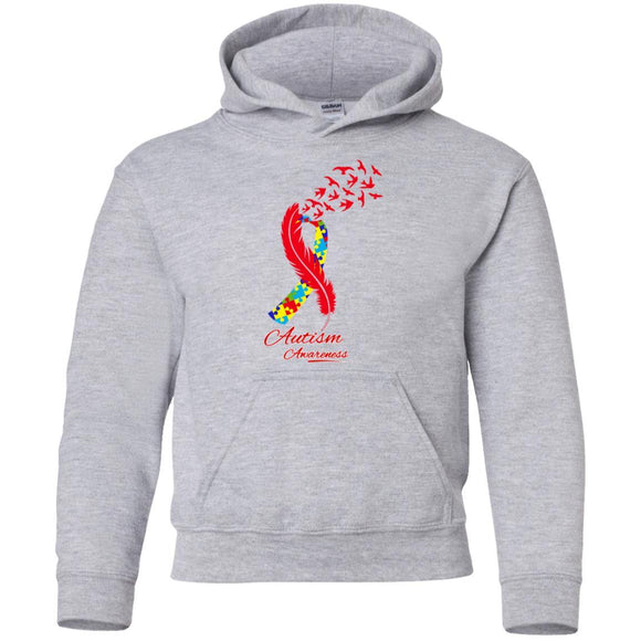 Autism Feather Pullover Hoodie - Kids - Sport Grey / SM - Kids Sweatshirts