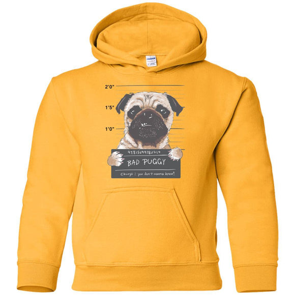 Bad Puggy Pullover Hoodie - Kids - Gold / SM - Kids Sweatshirts