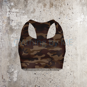 Dark Brown Camo Sport Bra - Multi / XS - Sport Bra