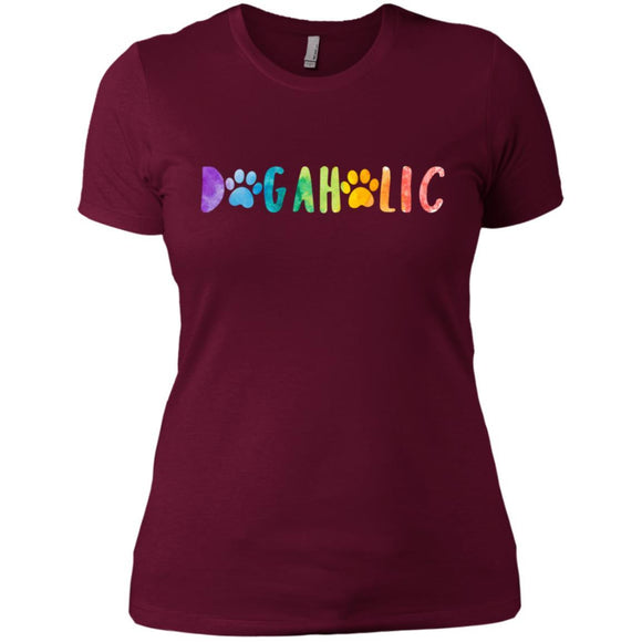 Dogaholic Ladies Boyfriend T-Shirt - Maroon / X-Small - T-Shirt