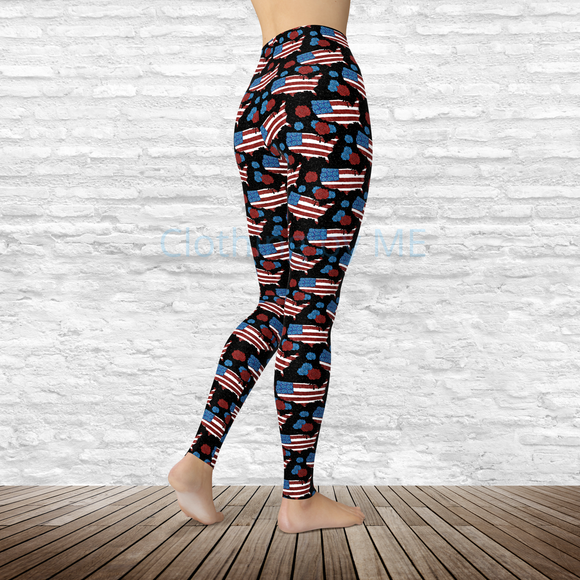 Floral USA Leggings - XS - Adult Leggings