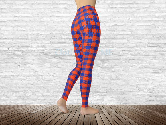 Florida Football Buffalo Plaid Leggings - Adult Leggings