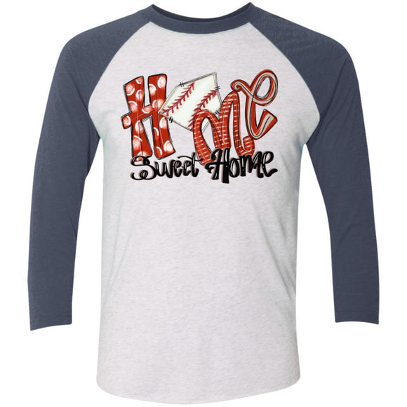 Home Sweet Home 3/4 Sleeve Baseball Raglan T-Shirt - Adult - Heather White/Indigo / X-Small - Long-sleeve