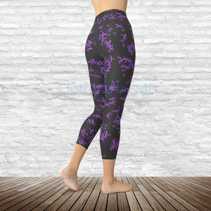 Lavender Awareness Ribbon - Capri Leggings - Capris