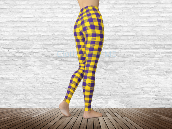 Louisiana State Football Buffalo Plaid Leggings - Adult Leggings