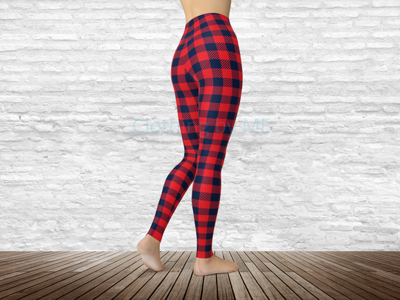 Mississippi Football Buffalo Plaid Leggings - Adult Leggings