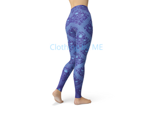 Periwinkle Damask Roses Leggings - Adult Leggings