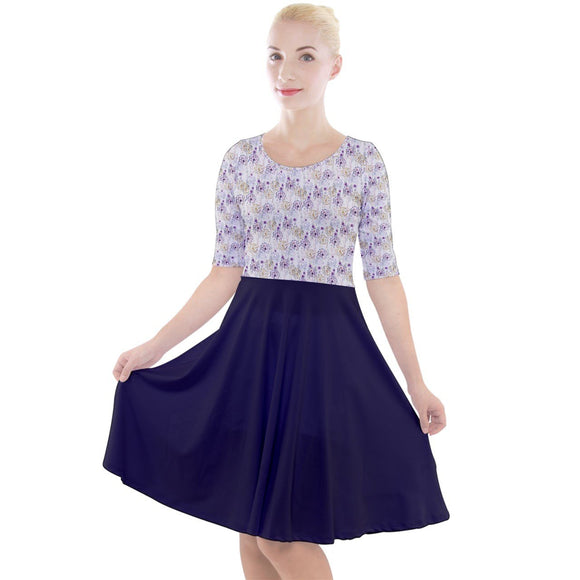 Purple Dandelion Quarter Sleeve A-Line Dress - XS - Mid Length Dresses